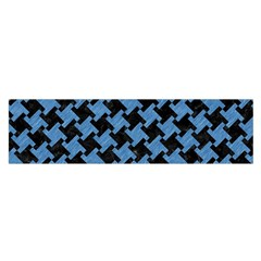 Houndstooth2 Black Marble & Blue Colored Pencil Satin Scarf (oblong) by trendistuff