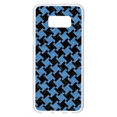 Houndstooth2 Black Marble & Blue Colored Pencil Samsung Galaxy S8 Plus White Seamless Case by trendistuff