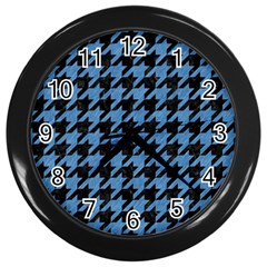 Houndstooth1 Black Marble & Blue Colored Pencil Wall Clock (black) by trendistuff