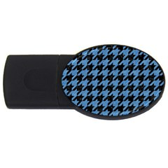Houndstooth1 Black Marble & Blue Colored Pencil Usb Flash Drive Oval (2 Gb) by trendistuff