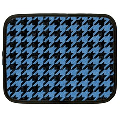 Houndstooth1 Black Marble & Blue Colored Pencil Netbook Case (large) by trendistuff