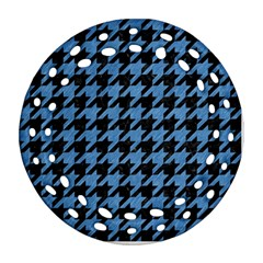 Houndstooth1 Black Marble & Blue Colored Pencil Ornament (round Filigree) by trendistuff