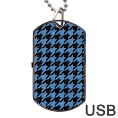 Houndstooth1 Black Marble & Blue Colored Pencil Dog Tag Usb Flash (one Side) by trendistuff