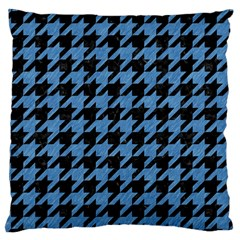 Houndstooth1 Black Marble & Blue Colored Pencil Large Cushion Case (one Side) by trendistuff