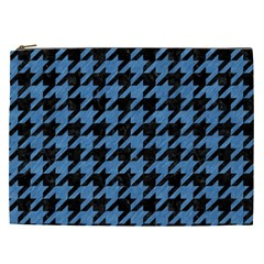 Houndstooth1 Black Marble & Blue Colored Pencil Cosmetic Bag (xxl) by trendistuff