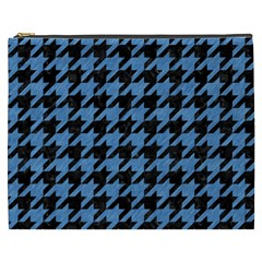 Houndstooth1 Black Marble & Blue Colored Pencil Cosmetic Bag (xxxl) by trendistuff
