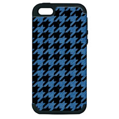 Houndstooth1 Black Marble & Blue Colored Pencil Apple Iphone 5 Hardshell Case (pc+silicone) by trendistuff