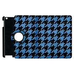 Houndstooth1 Black Marble & Blue Colored Pencil Apple Ipad 2 Flip 360 Case by trendistuff