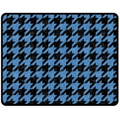 Houndstooth1 Black Marble & Blue Colored Pencil Double Sided Fleece Blanket (medium) by trendistuff