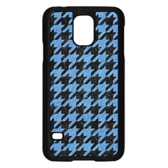 Houndstooth1 Black Marble & Blue Colored Pencil Samsung Galaxy S5 Case (black) by trendistuff