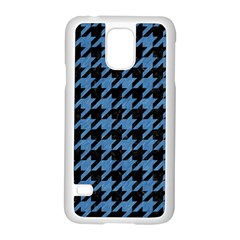 Houndstooth1 Black Marble & Blue Colored Pencil Samsung Galaxy S5 Case (white) by trendistuff