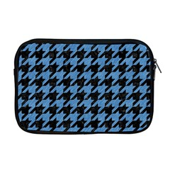Houndstooth1 Black Marble & Blue Colored Pencil Apple Macbook Pro 17  Zipper Case by trendistuff