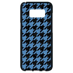 Houndstooth1 Black Marble & Blue Colored Pencil Samsung Galaxy S8 Black Seamless Case by trendistuff