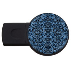 Damask2 Black Marble & Blue Colored Pencil (r) Usb Flash Drive Round (4 Gb) by trendistuff