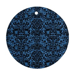 Damask2 Black Marble & Blue Colored Pencil (r) Round Ornament (two Sides) by trendistuff