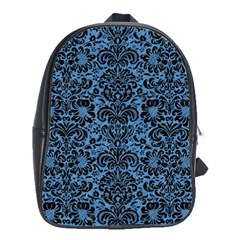 Damask2 Black Marble & Blue Colored Pencil (r) School Bag (large) by trendistuff