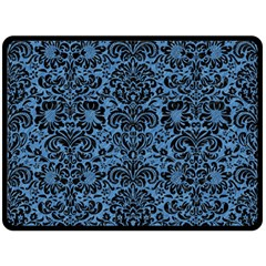 Damask2 Black Marble & Blue Colored Pencil (r) Fleece Blanket (large) by trendistuff