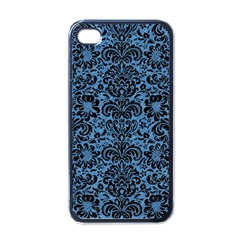 Damask2 Black Marble & Blue Colored Pencil (r) Apple Iphone 4 Case (black) by trendistuff