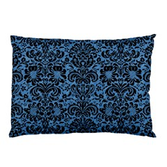 Damask2 Black Marble & Blue Colored Pencil (r) Pillow Case (two Sides) by trendistuff