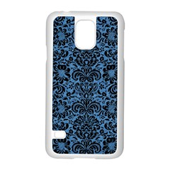 Damask2 Black Marble & Blue Colored Pencil (r) Samsung Galaxy S5 Case (white) by trendistuff