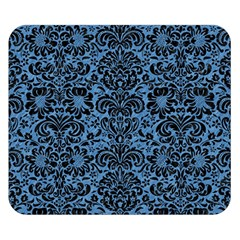 Damask2 Black Marble & Blue Colored Pencil (r) Double Sided Flano Blanket (small) by trendistuff