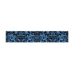 Damask2 Black Marble & Blue Colored Pencil (r) Flano Scarf (mini) by trendistuff