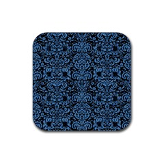 Damask2 Black Marble & Blue Colored Pencil Rubber Square Coaster (4 Pack) by trendistuff