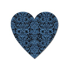Damask2 Black Marble & Blue Colored Pencil Magnet (heart) by trendistuff