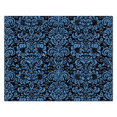 Damask2 Black Marble & Blue Colored Pencil Jigsaw Puzzle (rectangular) by trendistuff