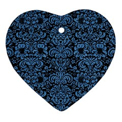 Damask2 Black Marble & Blue Colored Pencil Heart Ornament (two Sides) by trendistuff
