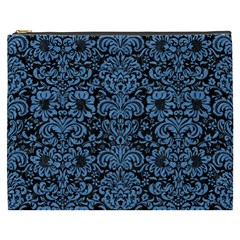 Damask2 Black Marble & Blue Colored Pencil Cosmetic Bag (xxxl) by trendistuff