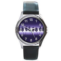Tropical Sunset Round Metal Watch