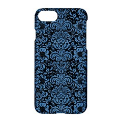 Damask2 Black Marble & Blue Colored Pencil Apple Iphone 7 Hardshell Case by trendistuff