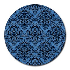 Damask1 Black Marble & Blue Colored Pencil (r) Round Mousepad