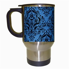 Damask1 Black Marble & Blue Colored Pencil (r) Travel Mug (white) by trendistuff