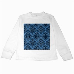 Damask1 Black Marble & Blue Colored Pencil (r) Kids Long Sleeve T Shirt by trendistuff
