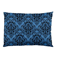 Damask1 Black Marble & Blue Colored Pencil (r) Pillow Case by trendistuff