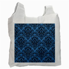 Damask1 Black Marble & Blue Colored Pencil (r) Recycle Bag (one Side) by trendistuff