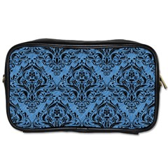 Damask1 Black Marble & Blue Colored Pencil (r) Toiletries Bag (one Side) by trendistuff