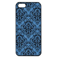 Damask1 Black Marble & Blue Colored Pencil (r) Apple Iphone 5 Seamless Case (black) by trendistuff