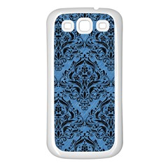 Damask1 Black Marble & Blue Colored Pencil (r) Samsung Galaxy S3 Back Case (white) by trendistuff