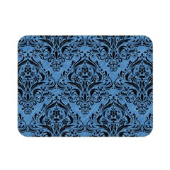 Damask1 Black Marble & Blue Colored Pencil (r) Double Sided Flano Blanket (mini) by trendistuff