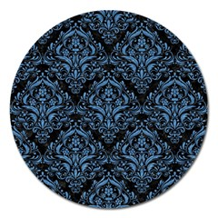 Damask1 Black Marble & Blue Colored Pencil Magnet 5  (round) by trendistuff