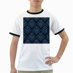 Damask1 Black Marble & Blue Colored Pencil Ringer T by trendistuff