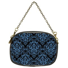 Damask1 Black Marble & Blue Colored Pencil Chain Purse (one Side) by trendistuff