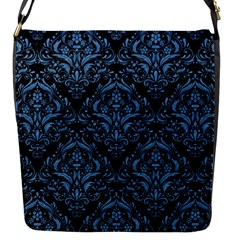 Damask1 Black Marble & Blue Colored Pencil Flap Closure Messenger Bag (s) by trendistuff