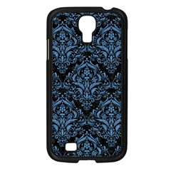 Damask1 Black Marble & Blue Colored Pencil Samsung Galaxy S4 I9500/ I9505 Case (black) by trendistuff