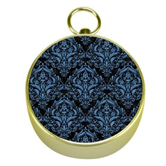 Damask1 Black Marble & Blue Colored Pencil Gold Compass by trendistuff