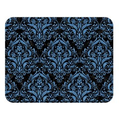 Damask1 Black Marble & Blue Colored Pencil Double Sided Flano Blanket (large) by trendistuff