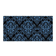 Damask1 Black Marble & Blue Colored Pencil Satin Wrap by trendistuff
